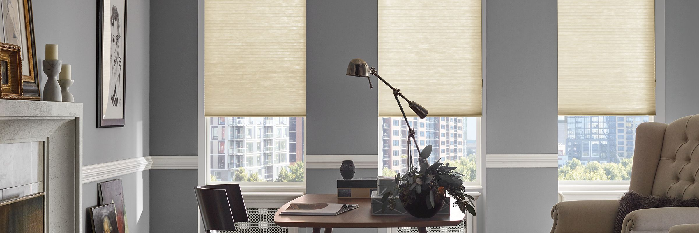 Applause honeycomb shades in Kinship Sunlight