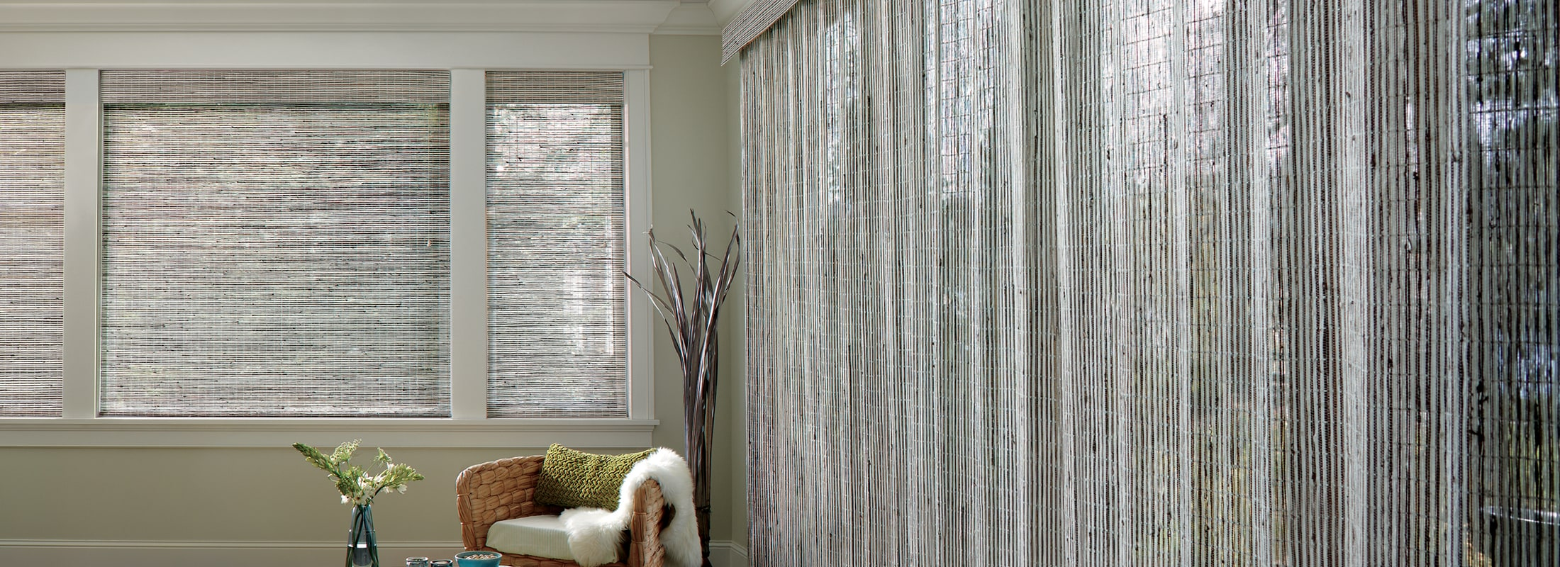 Bamboo blinds in Cambria Pebble White - Provenance