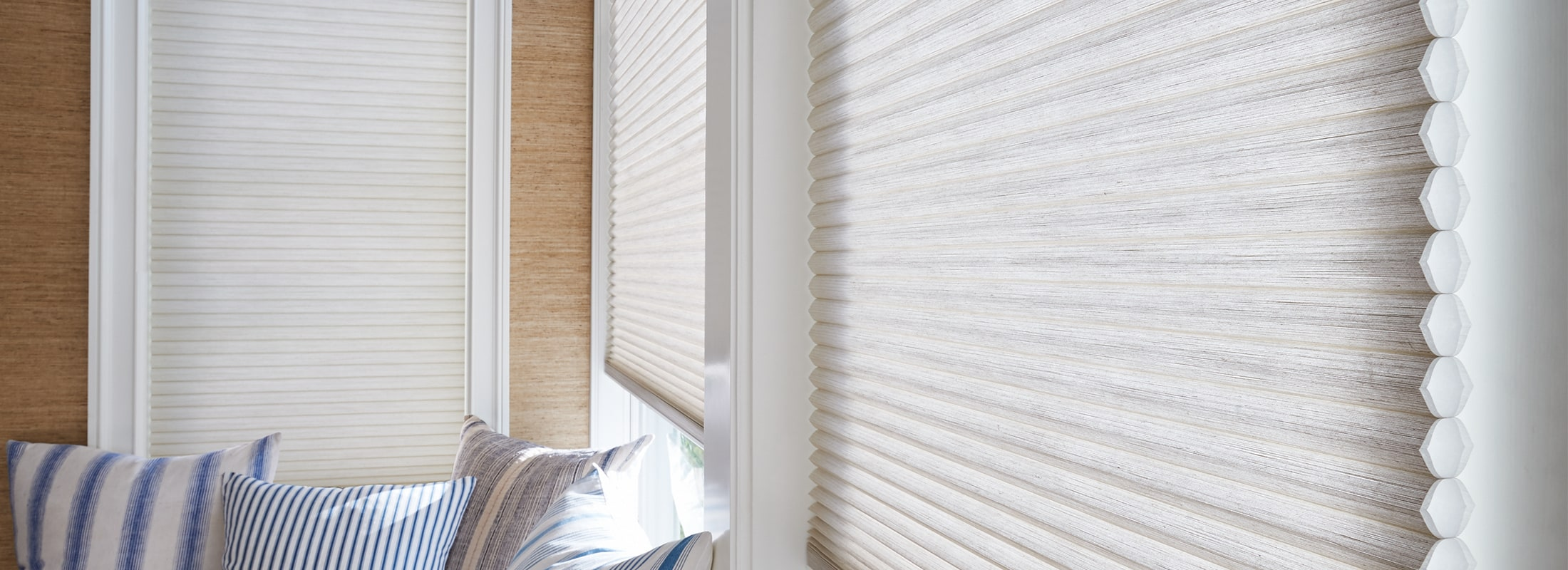 Cellular shades in Architella Alexa Desert Sands - Duette with Closeup