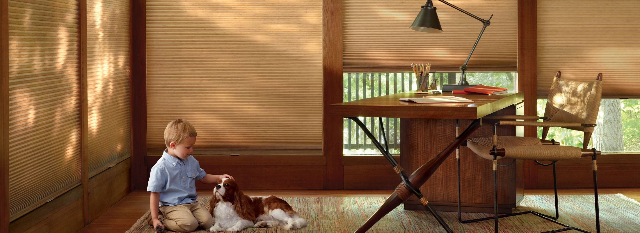 Cellular shades in India Silk Tiger Eye - Duette