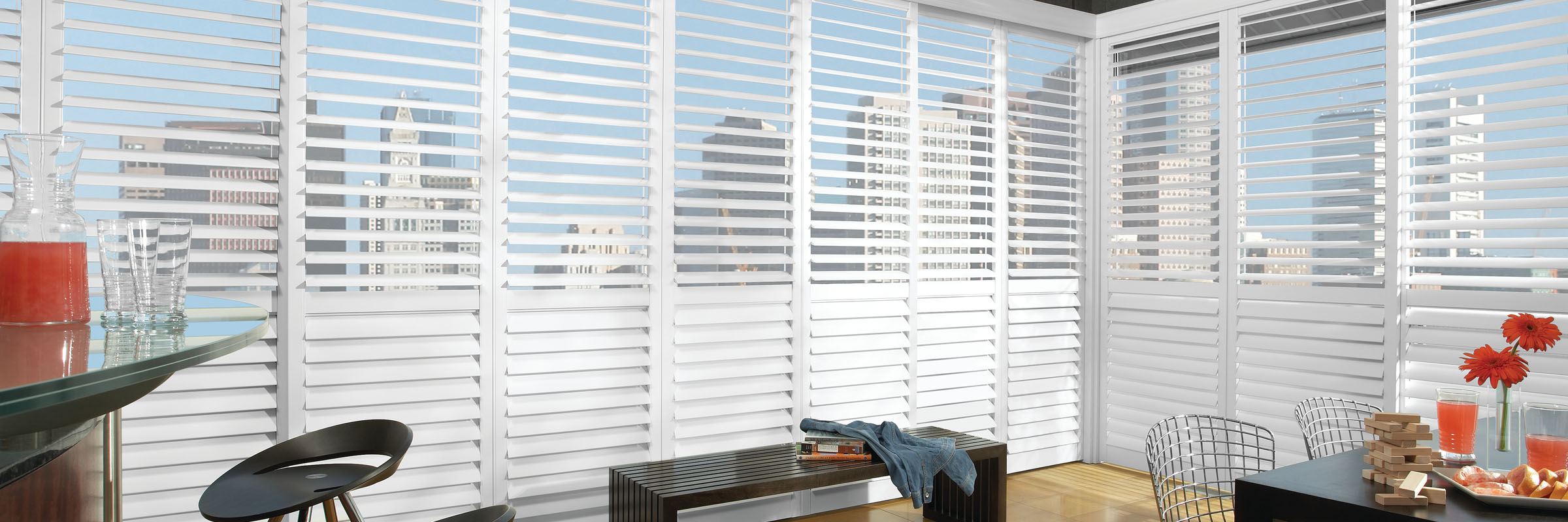 Custom shutters in Hybrid True White - NewStyle