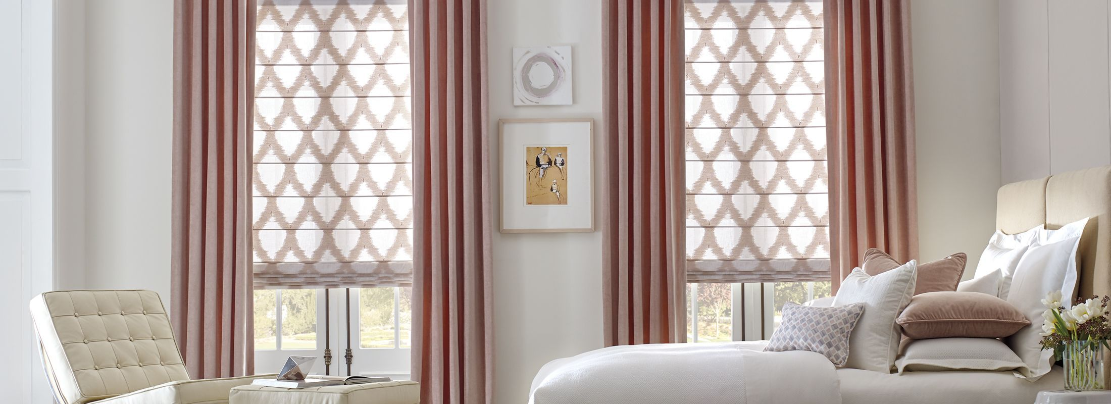 Design Studio Roman Shades in Colette Romance
