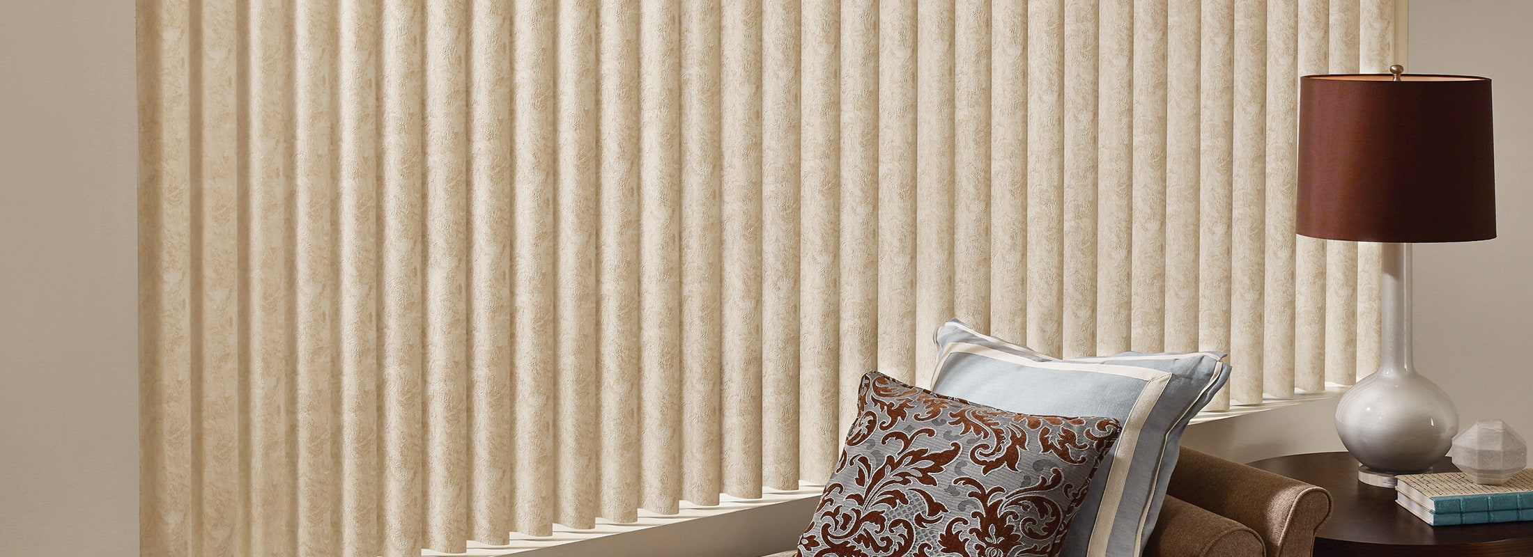 Fabric Vertical Blinds In Cabriolet Vanilla Cadence