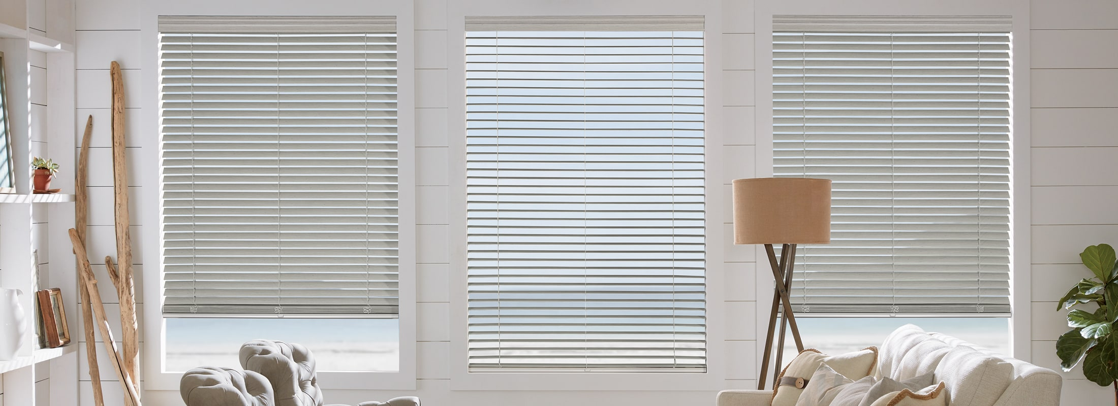 Faux wood blinds in TruGrain Coastal Deco Gray - EverWood