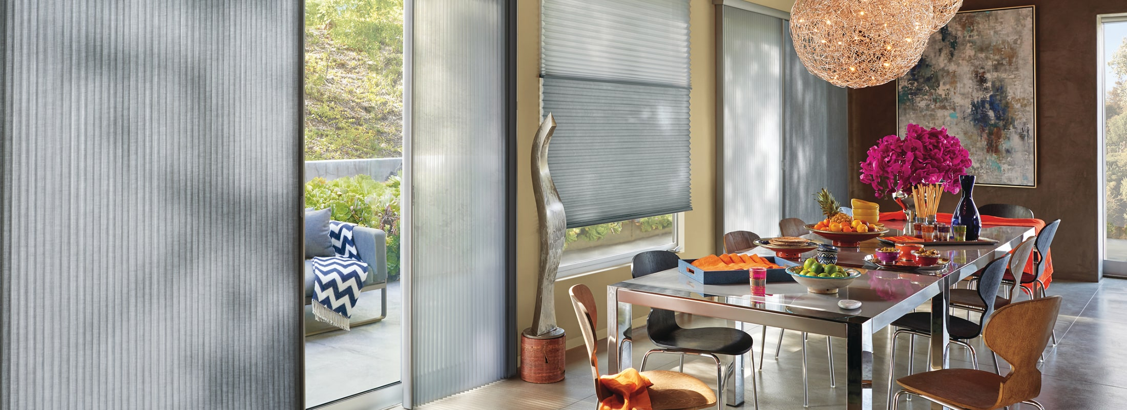 Honeycomb blinds in Alustra Myst™ and Whisper™, Silver Myst and Silver Glisten - Duette