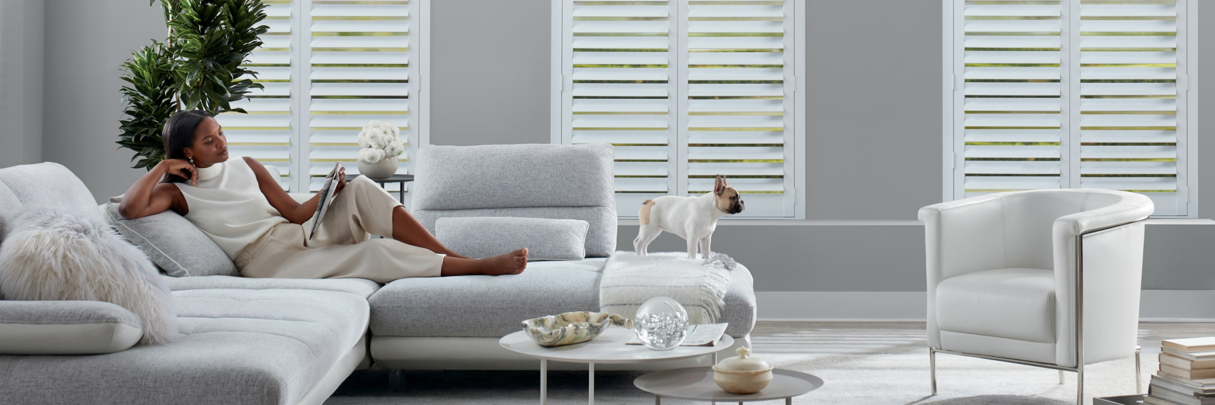 Custom shutters in Hybrid Polar White - NewStyle