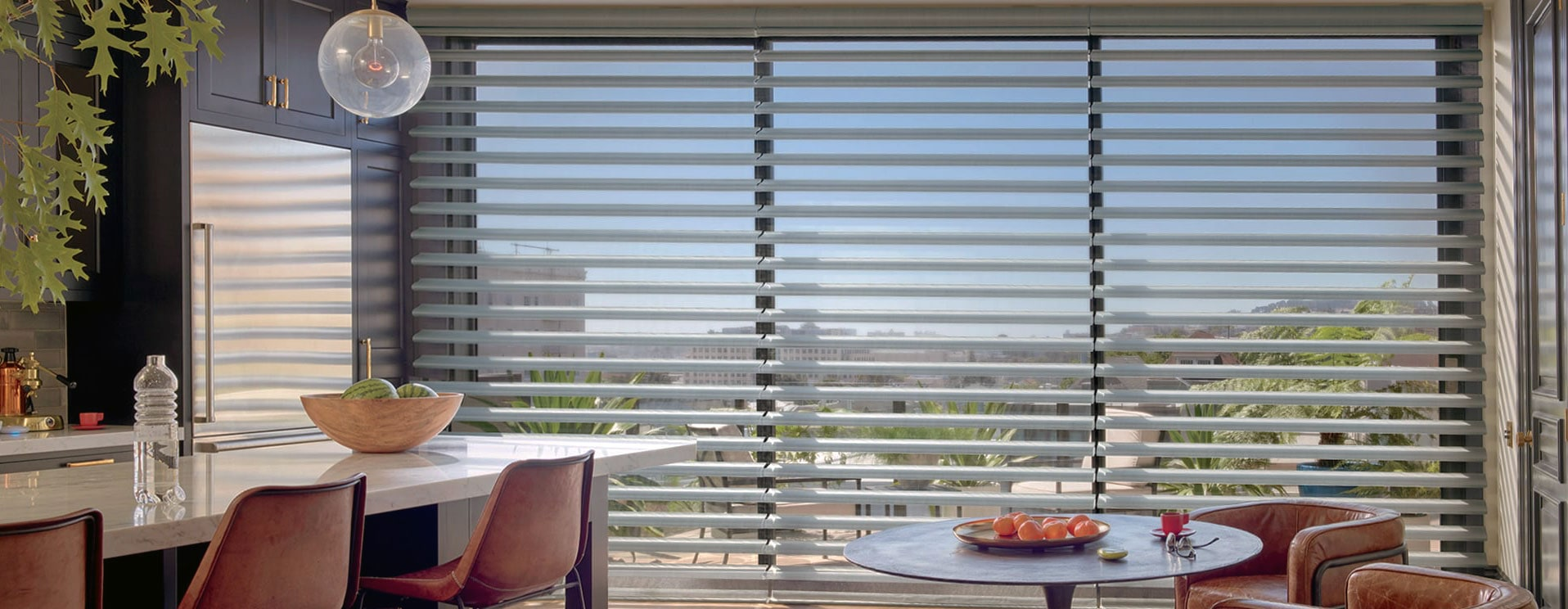Pirouette window shadings in kitchen