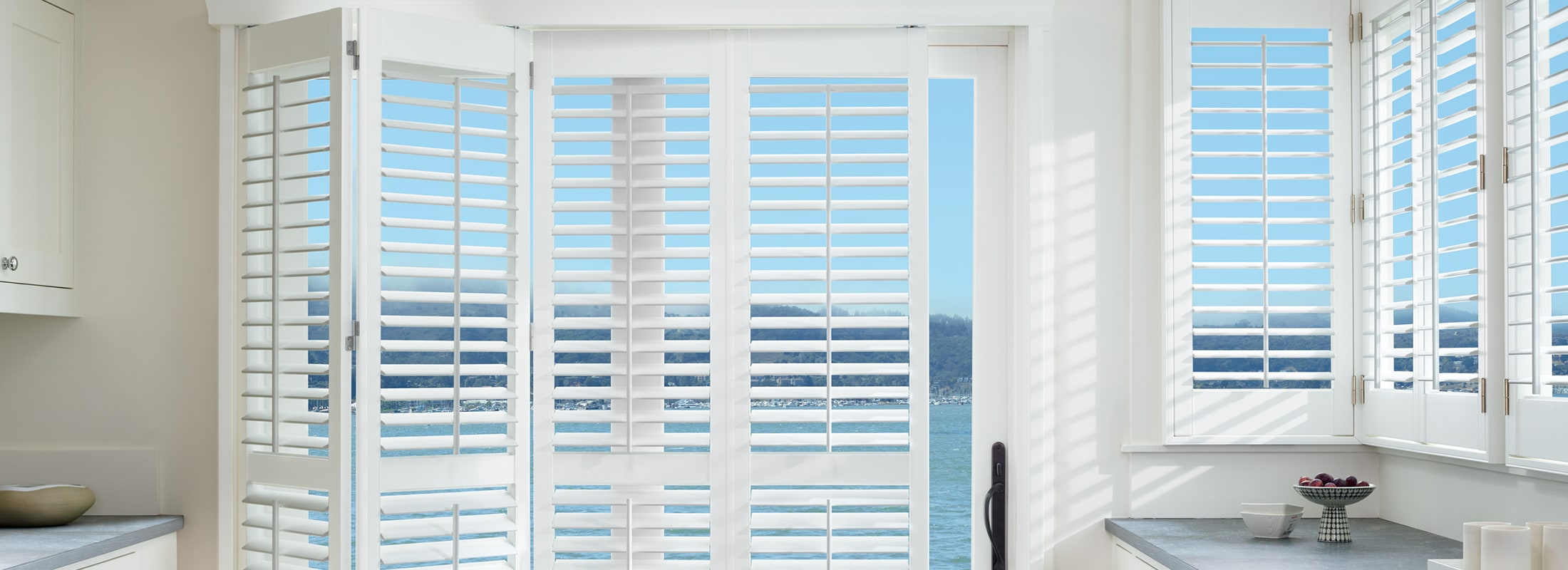 Polysatin shutters in Shutters Bright White - Palm Beach