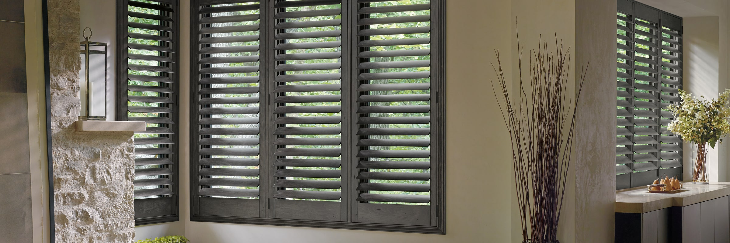 Custom plantation shutters in Hardwood Pewter - Heritance