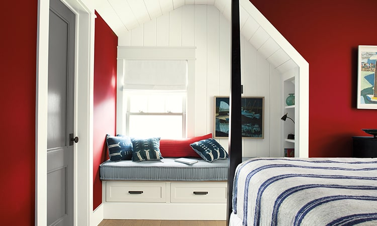 bedroom with accent-wall in Benjamin Moore Caliente Red color