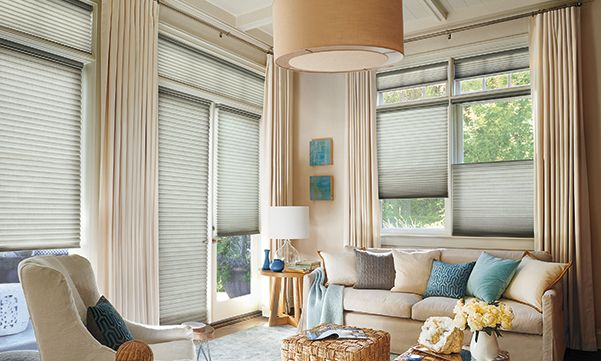 Alustra Duette honeycomb shades with drapes in the living room
