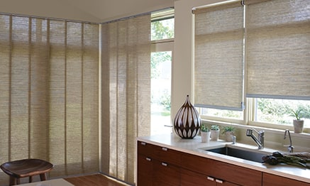 Window treatments for patio sliding glass doors hunter douglas patio door with alustra woven textures planetlyrics Images