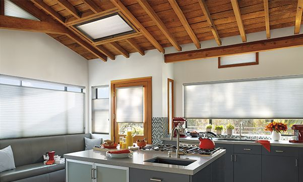 Applause honeycomb shades with skylights in the kitchen