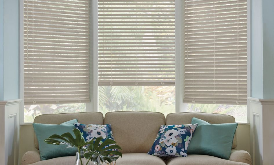 Parkland wood blinds with bay windows in living room
