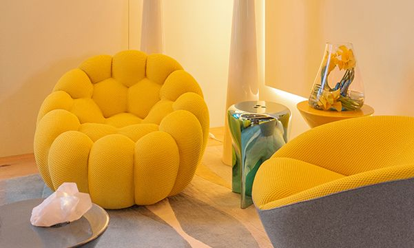 Roche Bobois and David Scott Interiors living room with yellow chairs