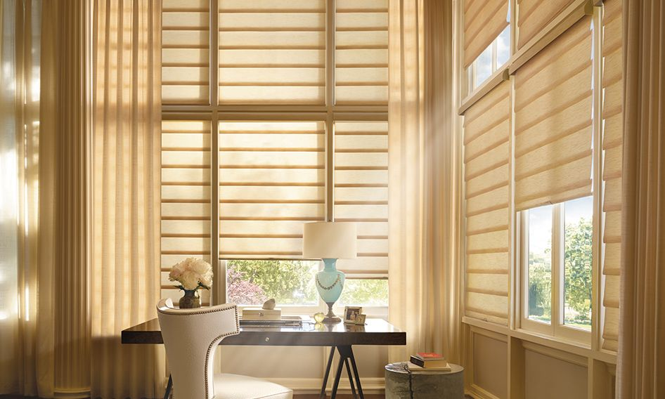 Vignette modern roman shades with drapes in an office