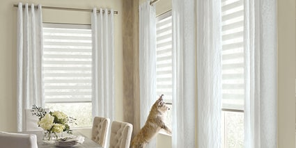 Designer Banded Shades with Design Studio Drapery