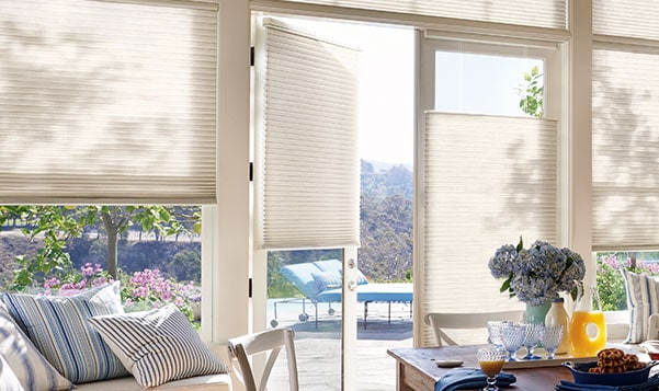 cellular shades on windows and doors