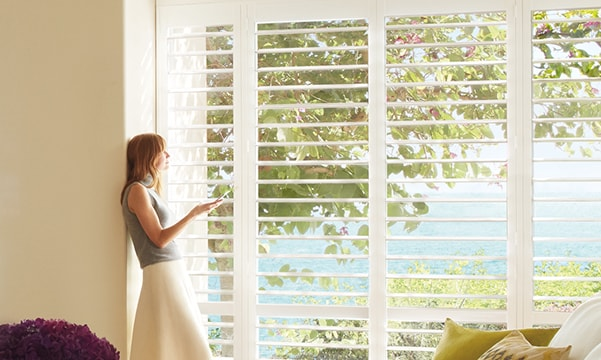 Palm Beach Polysatin Shutters with PowerView Motorization