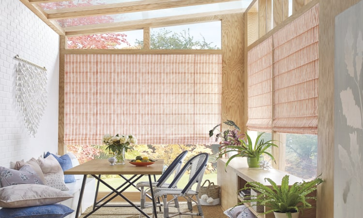 Design Studio Dotted Stripe Roman Shades in sun room
