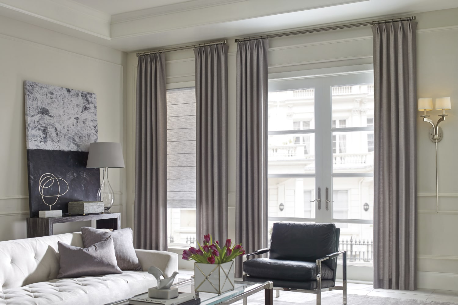 Design Studio with Vignette Roman shades in Grey Folio.