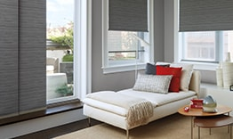 Designer Roller Shades on Sliding Glass Doors