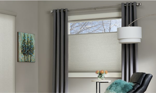 Duette honeycomb shades with drapes in the living room