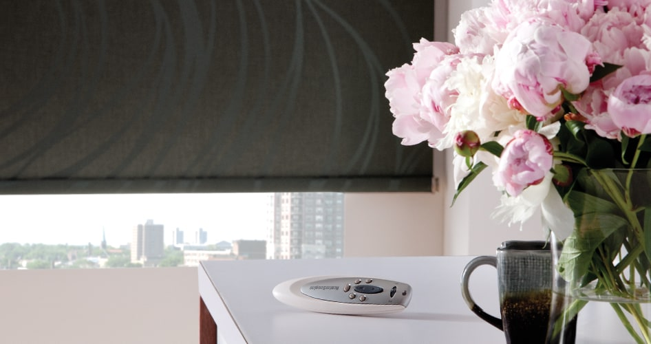 Flowers by window with a PowerRise remote