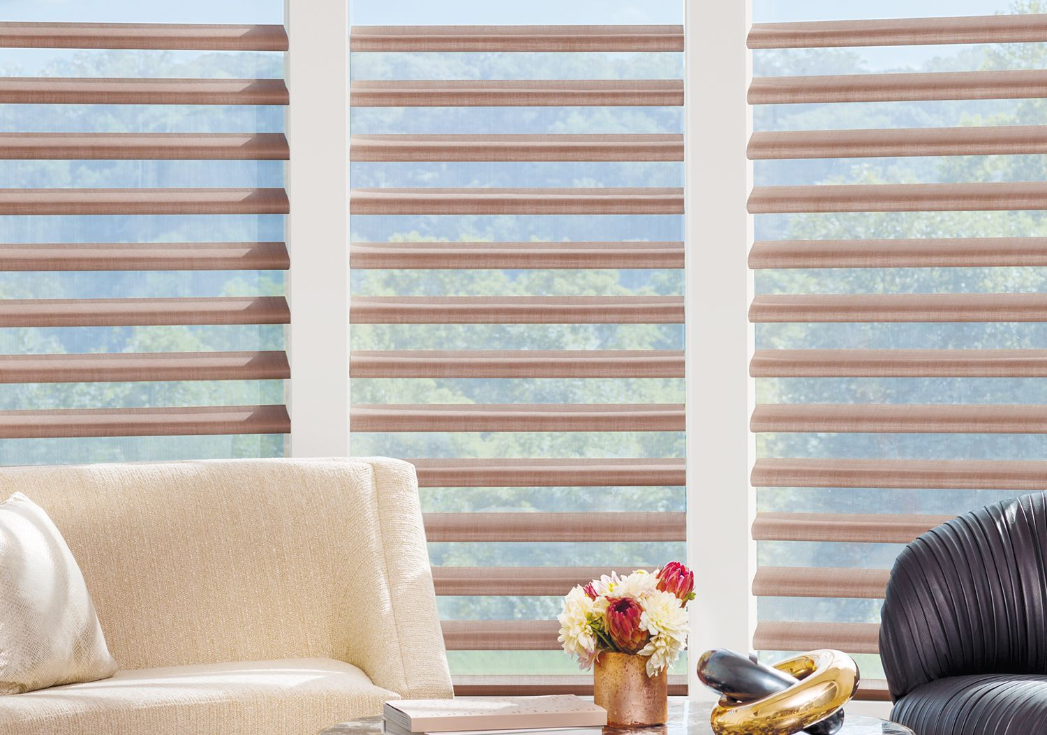 Pirouette Window Shadings in living room