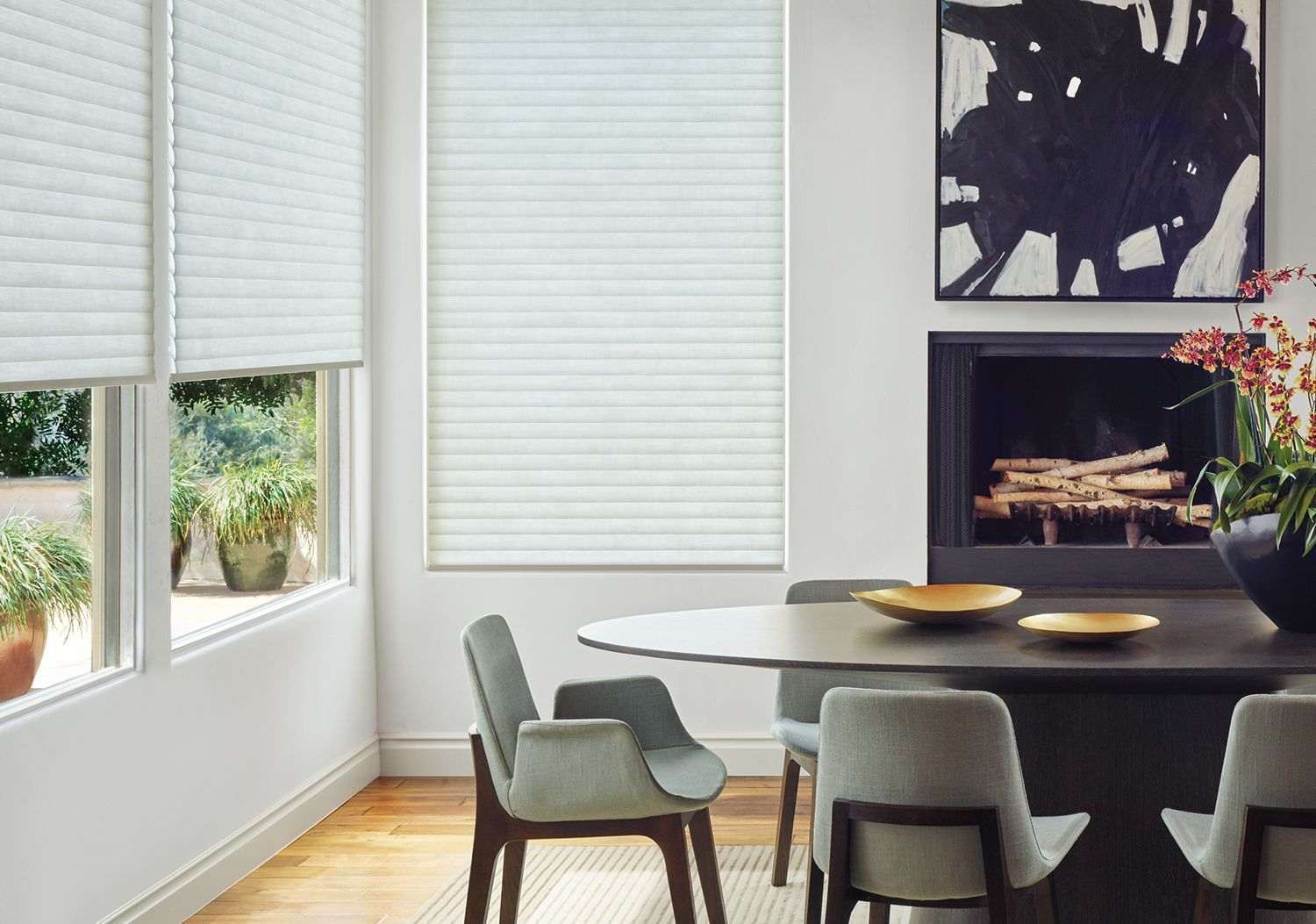 Sonnette Cellular Roller Shades in dining room