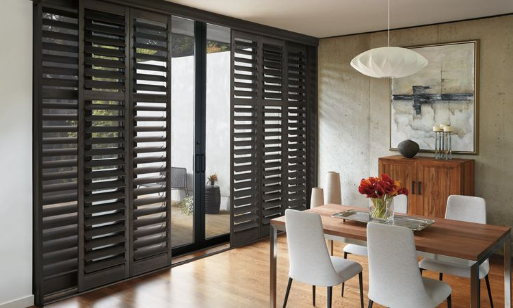 Window treatments for patio sliding glass doors hunter douglas glass door window treatments shutters planetlyrics Images