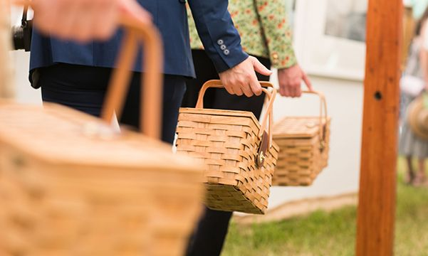 Picnic baskets at Glass House event