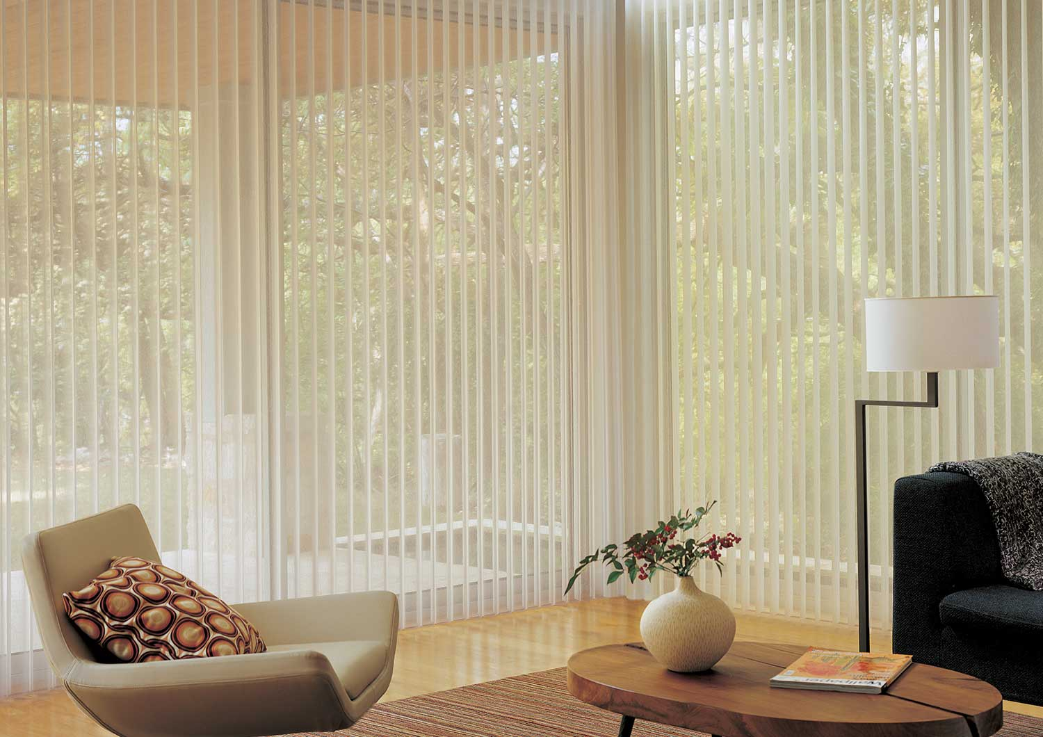 Luminette allows for light control with privacy sheers.