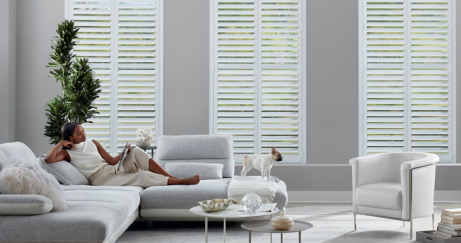 newstyle shutters in living room