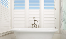 Palm Beach Polysatin Shutters in Bathroom