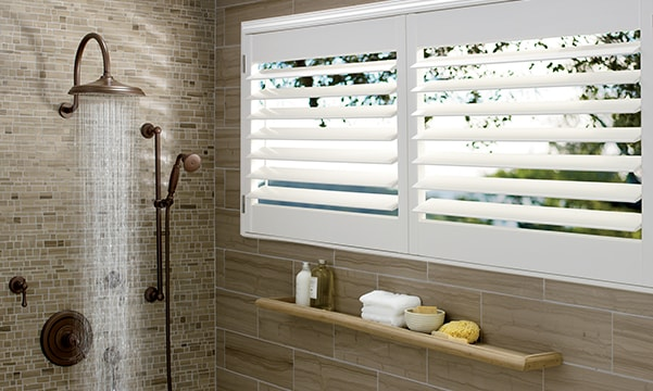 Palm Beach Polysatin Shutters in Shower
