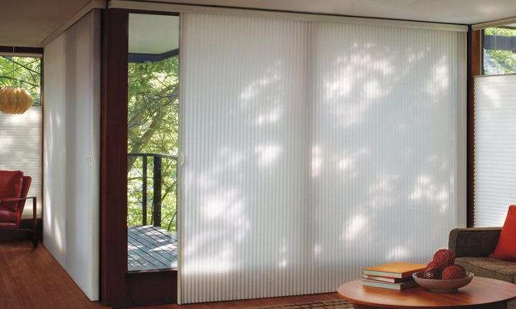 Window treatments for patio sliding glass doors hunter for Sliding glass doors 9ft