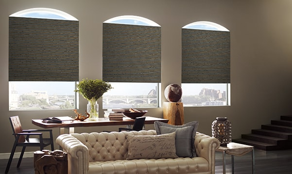 Provenance Woven Wood Shades on Living Room Windows