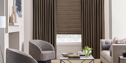 Alustra Woven Textures with Design Studio Side Panels & Drapery