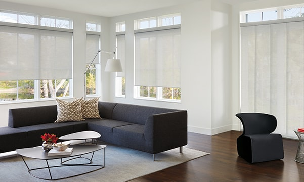 Skyline Gliding Window Panels and Designer Roller Shades in living room