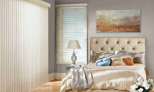 Somner custom vertical blinds in bedroom