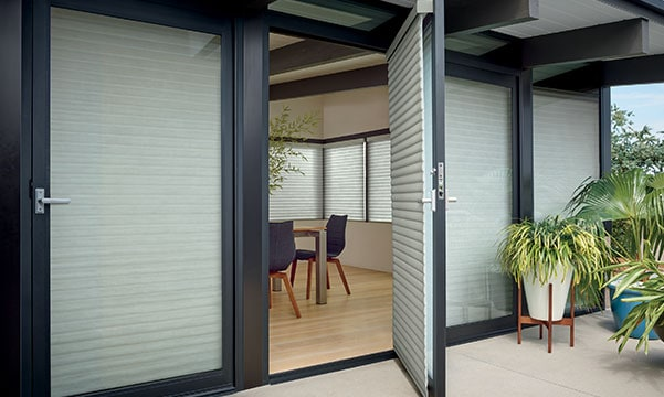 outside view of window treatments on doors