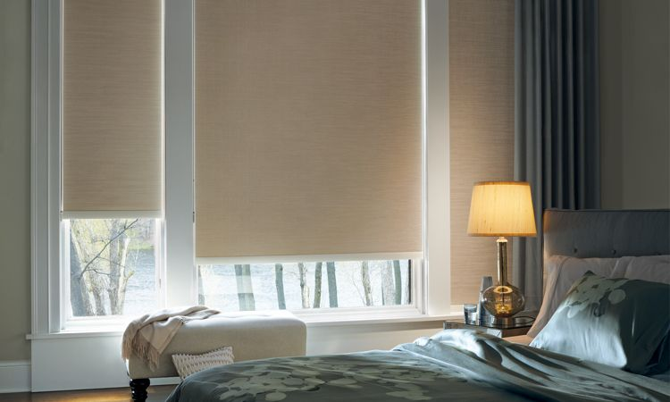 Designer Roller Shades in Bedroom