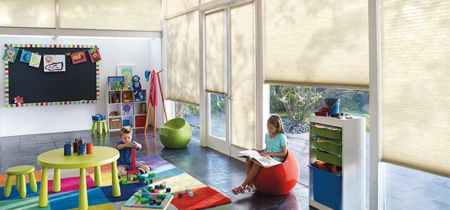 honeycomb shades in kids room