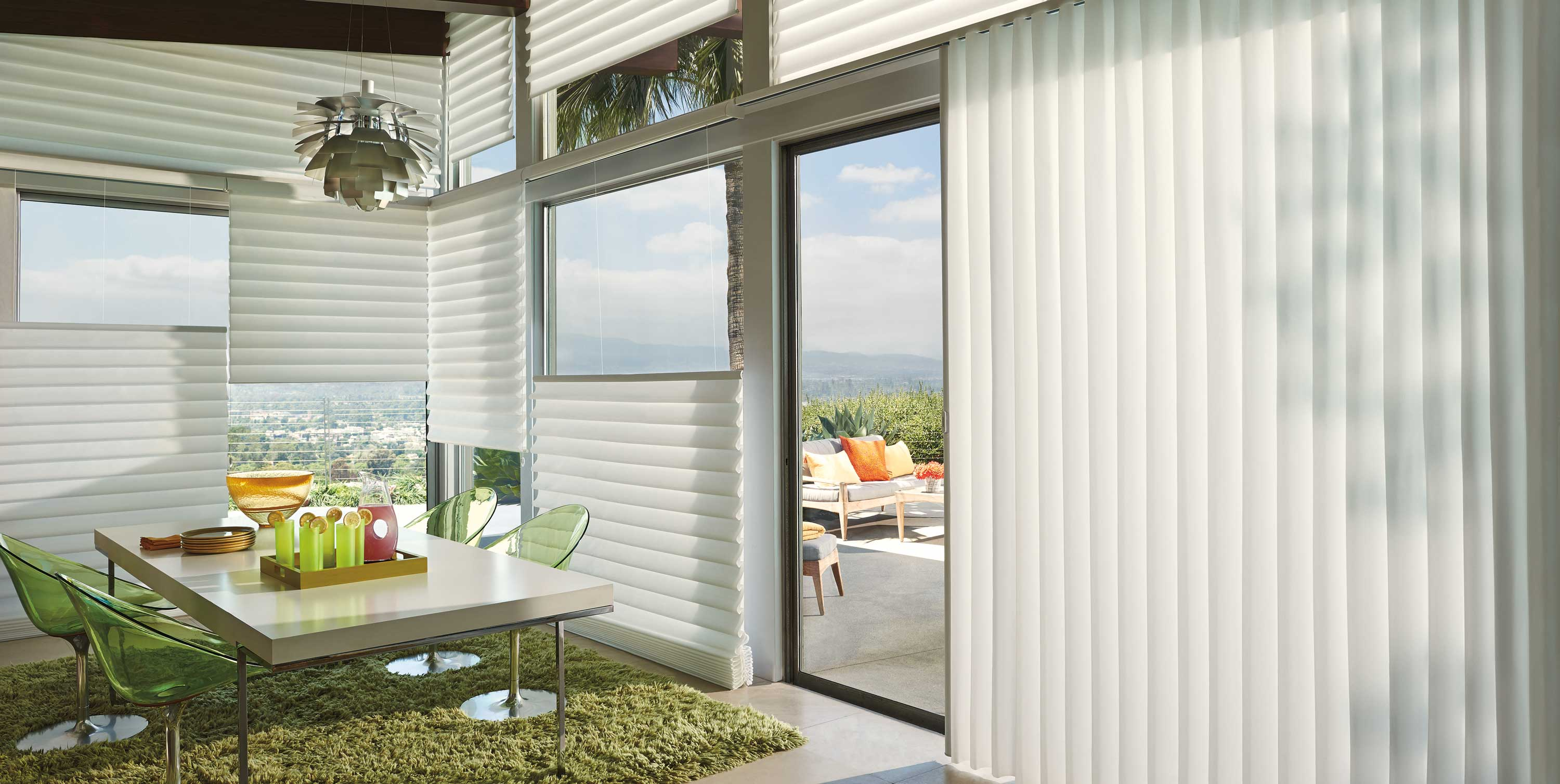 Windows and sliding glass door with Vignette.