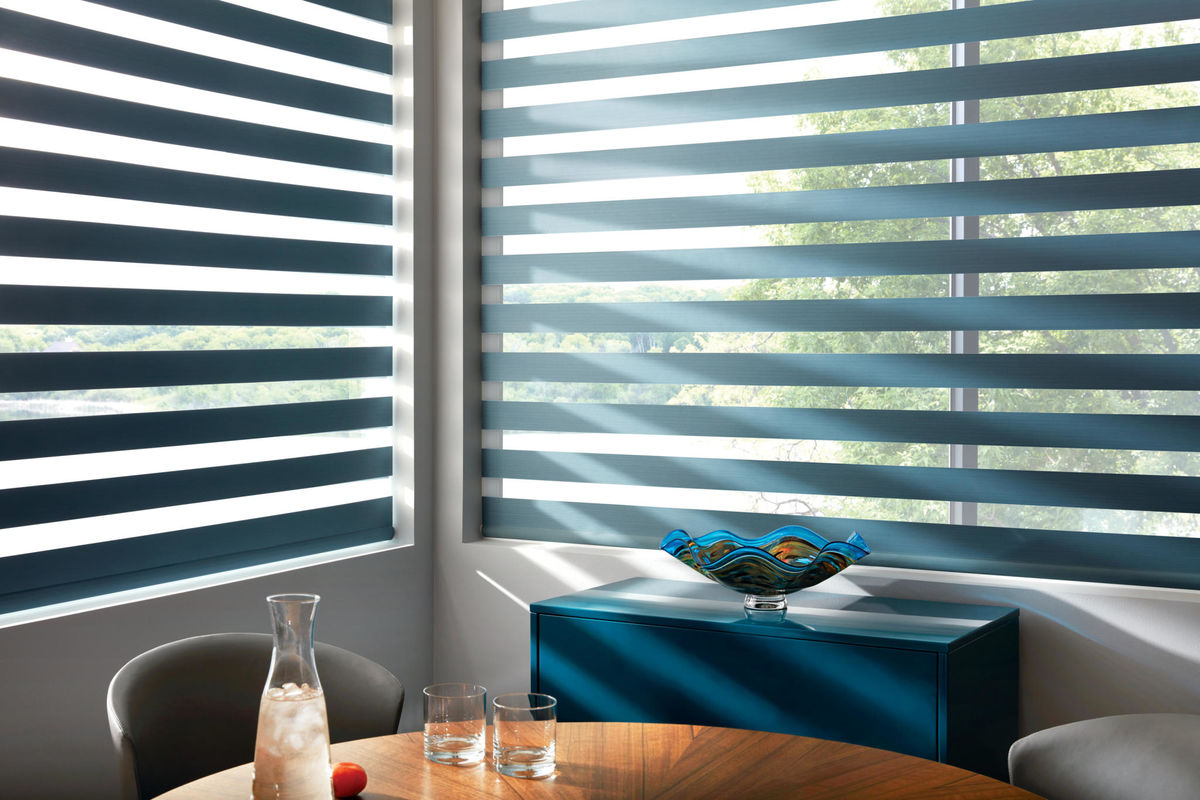 Designer Banded Shades in Zoey Baltic Sea