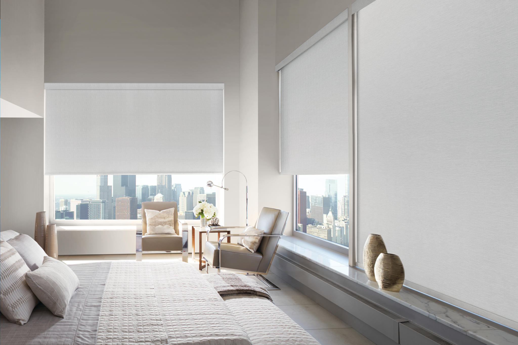 Designer Roller Shades With Brunswick Silver Pearl In