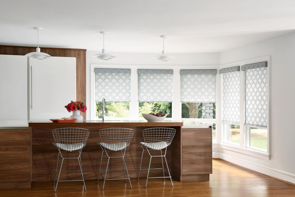 Designer Roller Shades in Giovanni Silver Dust